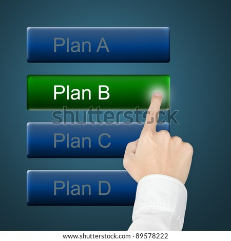 hand selecting plan by pushing touch screen button - stock photo