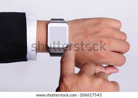 Hand serving smart watch isolated, copy space is great for your design - stock photo