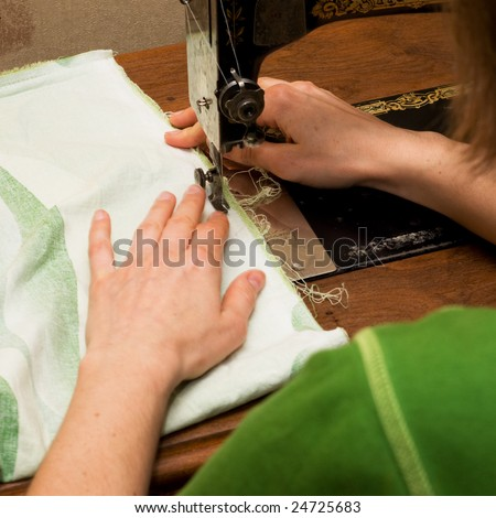 Hand sewing - stock photo