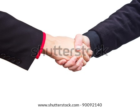 Hand shake between a businessman and a businesswoman isolated on - stock photo