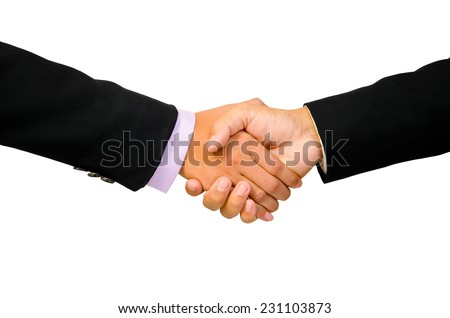 Hand shake between a businessman and a businesswoman isolated on white. clipping path. - stock photo