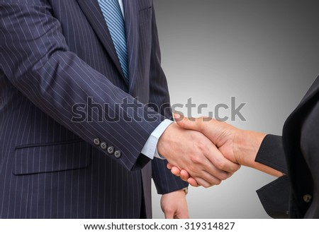 Hand shake between a businessman and a businesswoman on gray background - stock photo