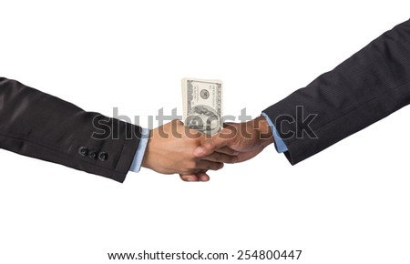 Hand shake between a businessman with dollar money on white background - stock photo