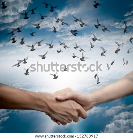 hand shake with dove flying on sky, business concept background. - stock photo