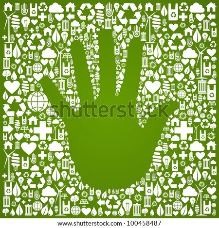 Hand shape in green Earth icons set background. - stock photo