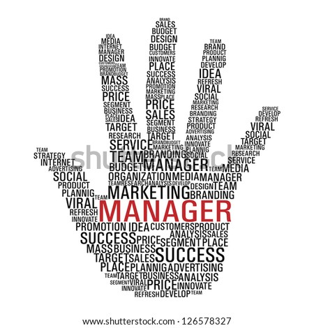 Hand shape with words related to marketing management isolated over white. - stock photo