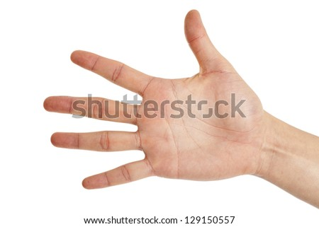 hand shoving five fingers spread out on white background - stock photo