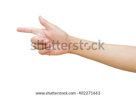 Hand show forefinger and thumb, correct sign, pointing sing, shoot sign. Man hands are pointing the way to the people. - stock photo