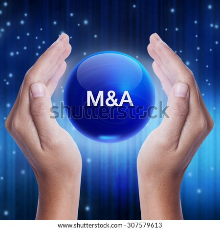 Hand showing blue crystal ball with M&A (Merger and Acquisition) sign. business concept - stock photo