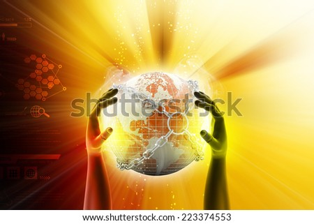 Hand showing earth globe close in chain     - stock photo