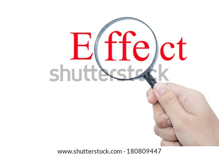 Hand Showing effect Word Through Magnifying Glass  - stock photo