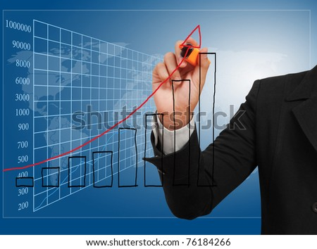 Hand showing graph isolated - stock photo