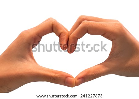 hand showing heart shape gesture. Isolated on white.  - stock photo