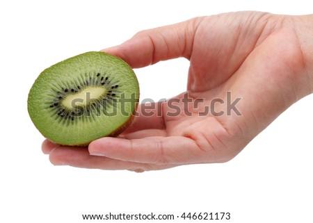 hand showing kiwi fruit isolated on white background - stock photo