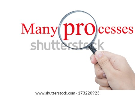 Hand Showing Many processes Word Through Magnifying Glass  - stock photo