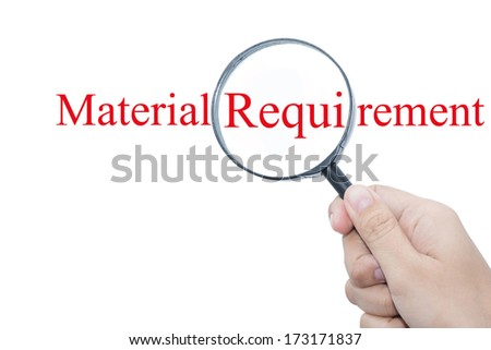 Hand Showing Materials Required Word Through Magnifying Glass  - stock photo