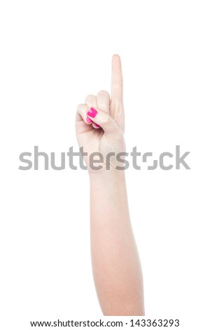 Hand showing number one, white background. - stock photo