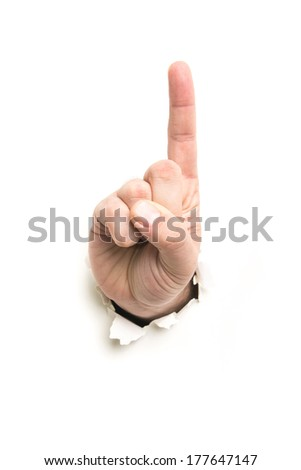 hand showing one through the paper hole isolated on white background - stock photo