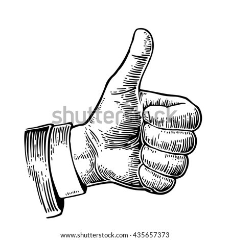 Hand showing symbol Like. Making thumb up gesture. Black vintage engraved illustration isolated on a white background. Sign for web, poster, info graphic - stock photo