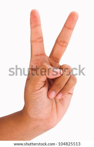 Hand showing the sign of victory with two fingers. Isolated on white. - stock photo