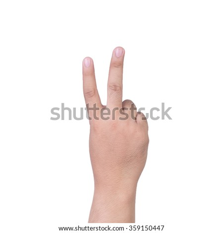 hand showing the two fingers isolated on a white background - stock photo