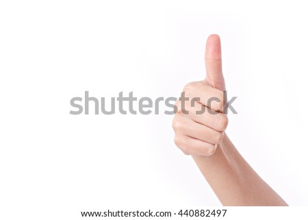 hand showing thumb up gesture - stock photo
