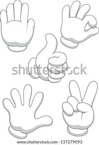 Hand sign collection - stock photo