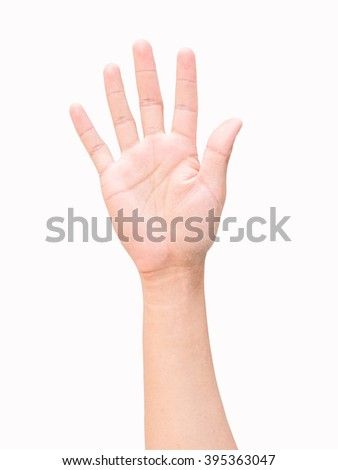 hand sign, hi five sign, greet sign, stop sign, hand up sign, the fifth sign on isolate white background - stock photo