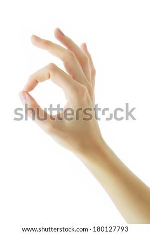 Hand sign OK - stock photo