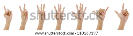 hand sign 1 to 7 - stock photo