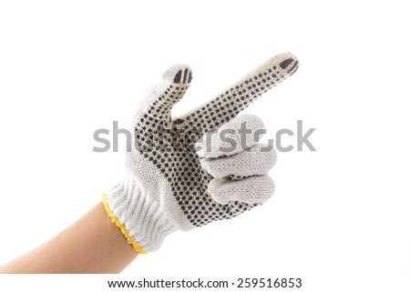 hand sign with glove of touch screen symbol on white background - stock photo