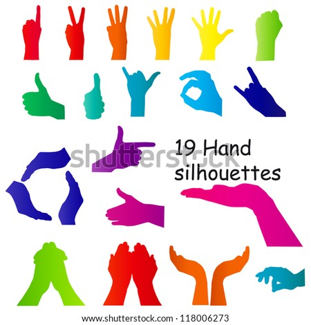 hand signal silhouettes on white. Raster Version. - stock photo