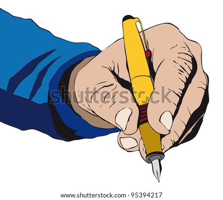 Hand signing something with a pen - stock photo