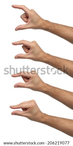 Hand signs. Different sizes isolated - stock photo
