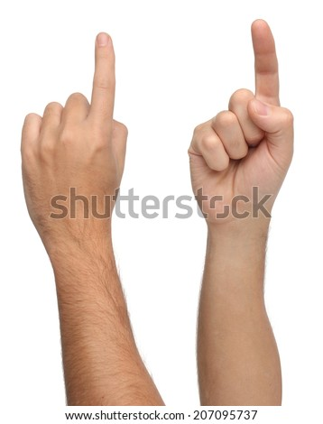 Hand signs. Pointing or touching something. Isolated  - stock photo