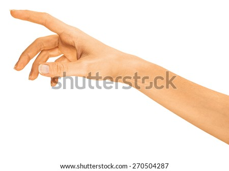 Hand simulating pressing something with index finger, isolated on a white background. - stock photo