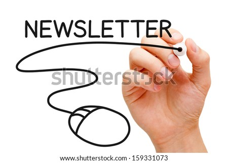 Hand sketching Newsletter Concept with black marker on transparent wipe board. - stock photo