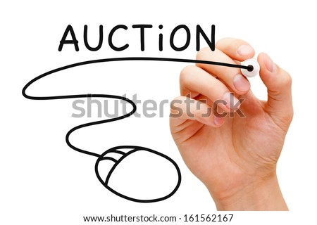 Hand sketching Online Auction Concept with black marker on transparent wipe board.  - stock photo