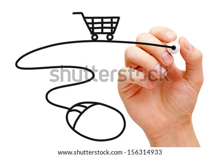 Hand sketching Online Shopping Concept with black marker on transparent wipe board.  - stock photo