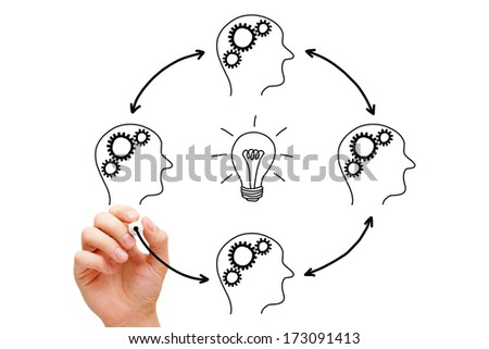Hand sketching Teamwork creativity concept with black marker on transparent wipe board. - stock photo