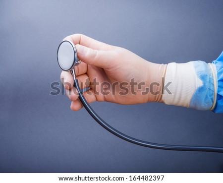 hand stethoscope - stock photo