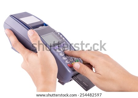 Hand Swiping Credit Card Machine Isolated On White Background - stock photo