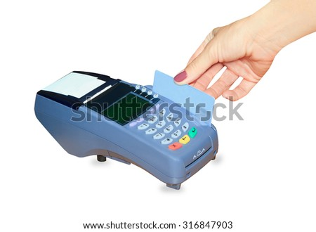 Hand swiping generic credit card on an over counter POS terminal - stock photo