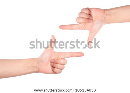 Hand symbol frame on white background - stock photo