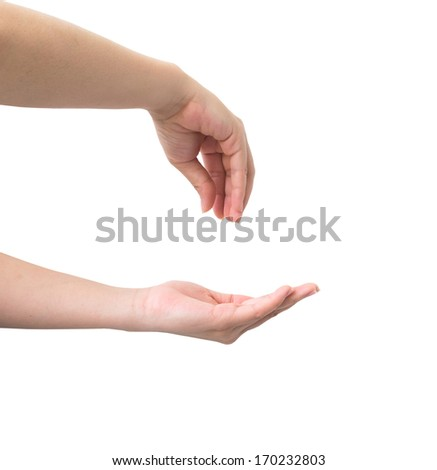 Hand symbol isolated on white background. - stock photo