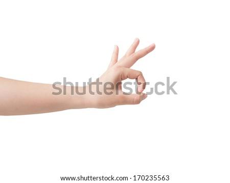 Hand symbol isolated on white background. - stock photo