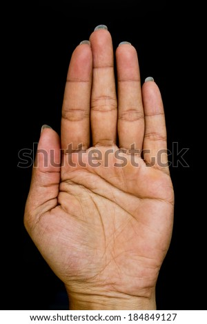 Hand symbol on black background  - stock photo