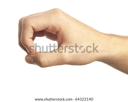 hand symbol that means pick up something - stock photo