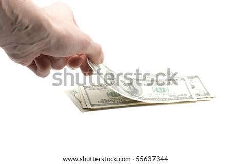 hand taking money - stock photo