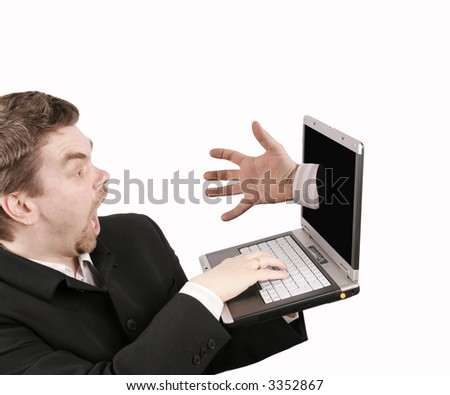 hand taking the businessman - stock photo